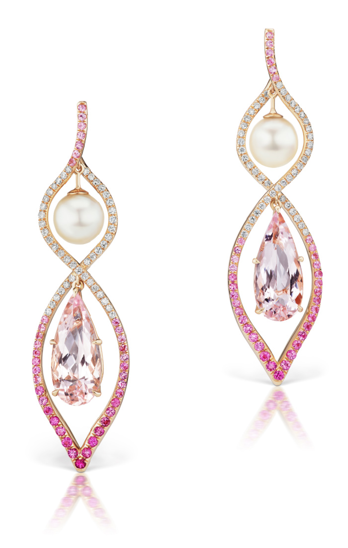 The pink Spiral earrings by Alexia Connellan, with morganite, pink sapphire, and akoya pearls.