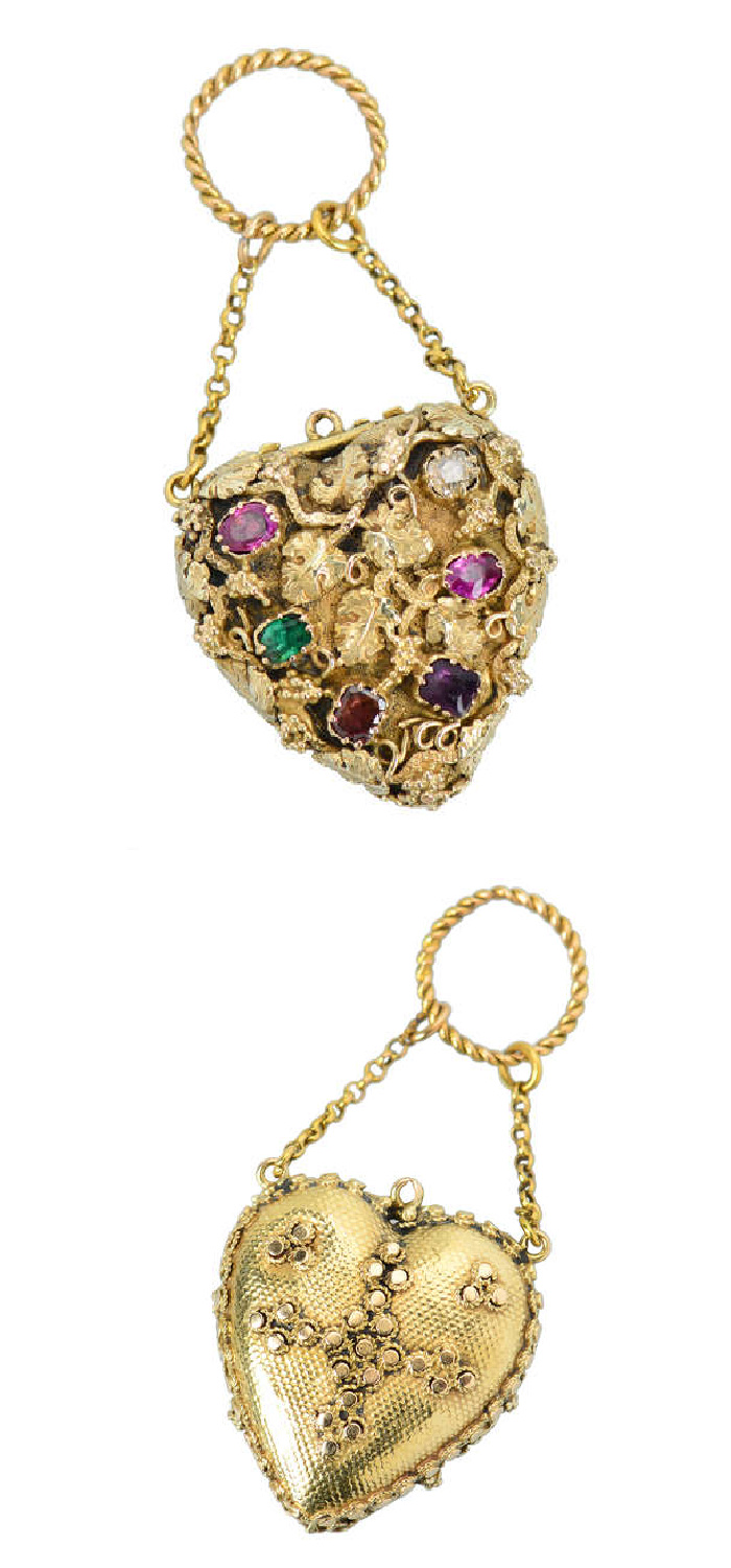 A Georgian acrostic jewel from 1820, this heart locket's gems spell out REAGRD, a secret message of love. From The Three Graces.