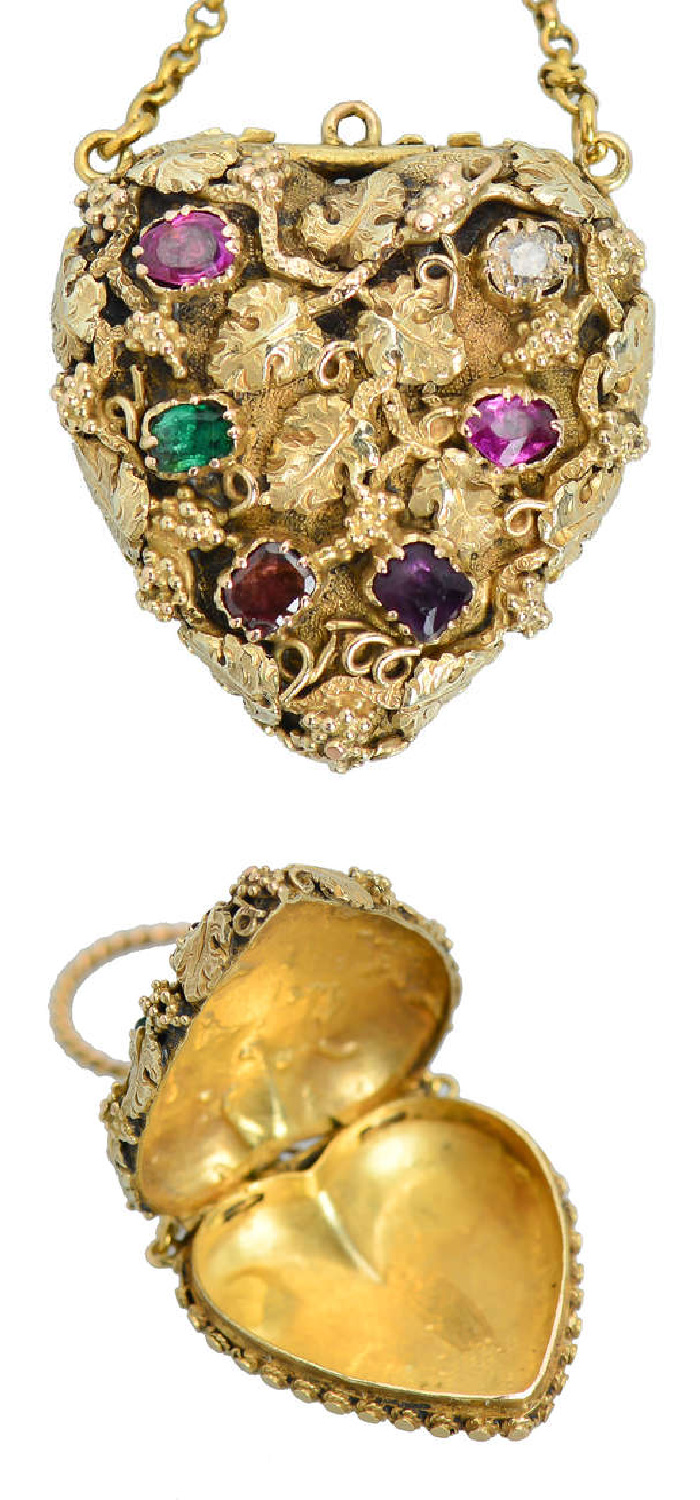 A Georgian acrostic jewel from 1820, this locket's gems spell out REAGRD, a secret message of love. From The Three Graces.