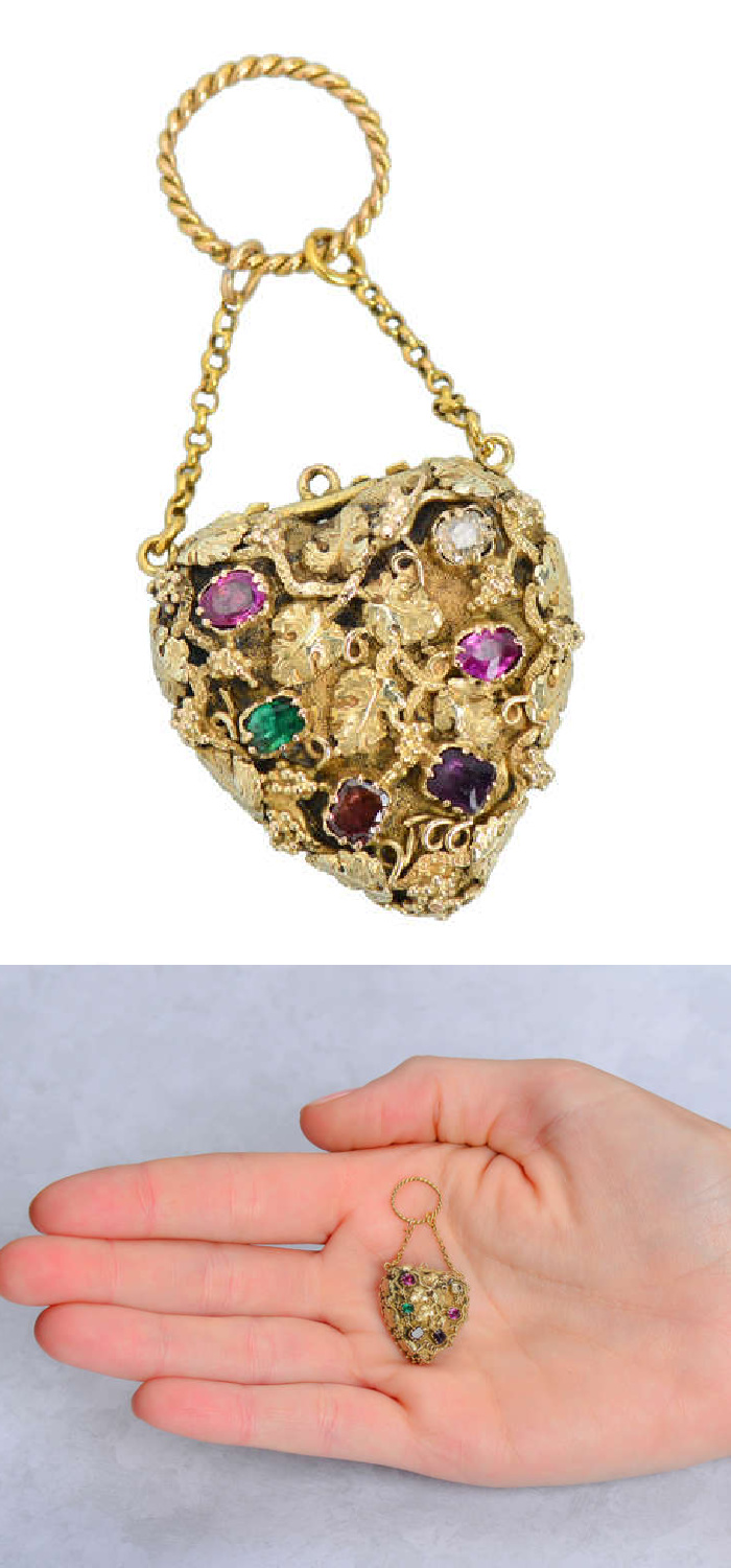 A Georgian acrostic jewel from 1820, this locket's gems spell out the secret message of love REGARD. From The Three Graces.