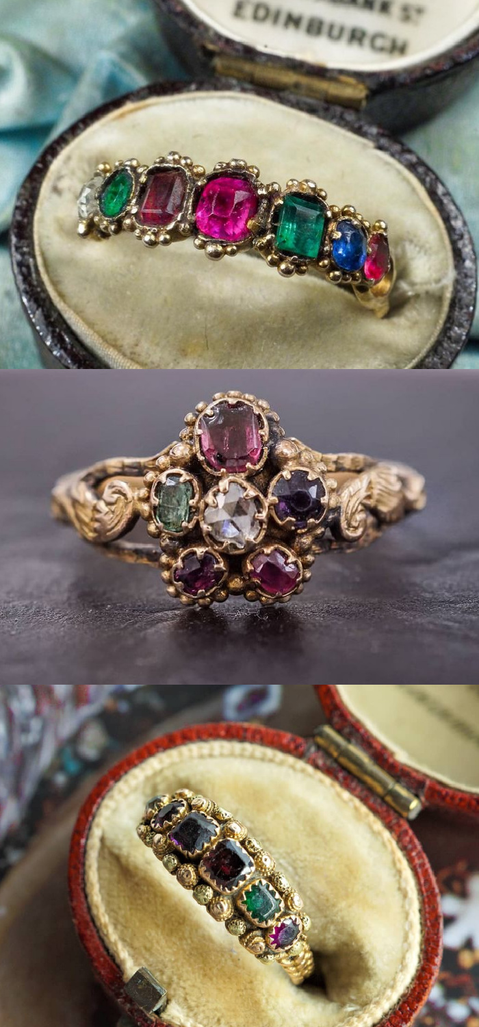 Acrostic jewelry uses gems to send a secret message! These antique acrostic rings all say REGARD. From Nalfies.