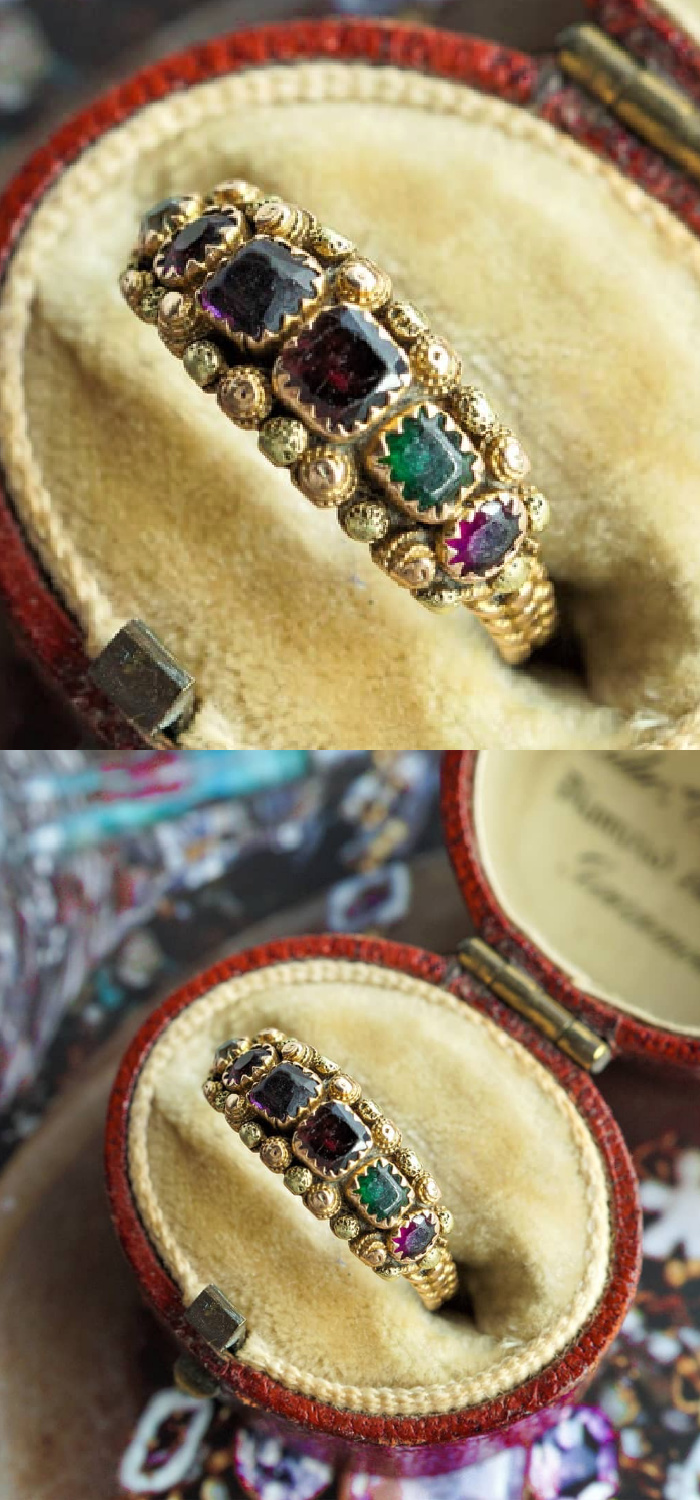 Antique Georgian acrostic ring with rose and green cannetille details. The gems spell out REGARD, a secret message of love. From Nalfies.
