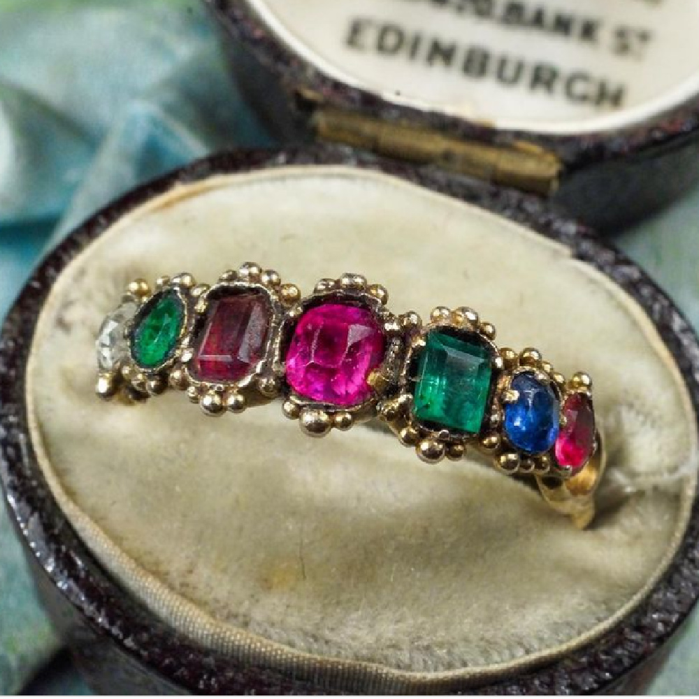 Antique early Victorian acrostic ring, circa 1840. The gems spell out REGARD, a message of love. From Nalfie's.