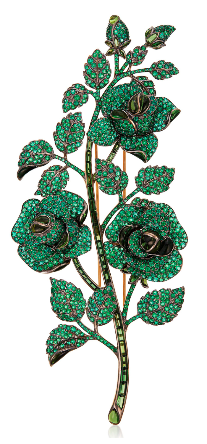 Floral brooch by Michele della Valle with emeralds and tourmaline.