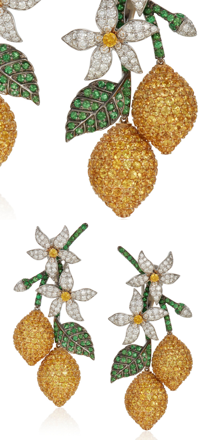 Lemon earrings by Michele della Valle, with yellow sapphires, tsavorite garnets and round diamonds in 18k white gold. Perfection.