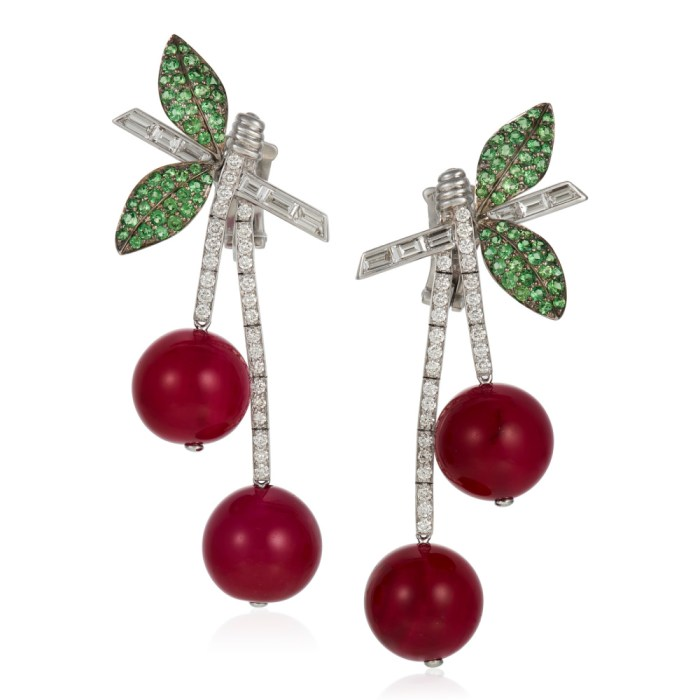 Michele della Valle cherry earrings with red agate beads, round diamonds and garnets in 18k white gold.