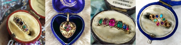 These antique acrostic jewels all hold secret messages