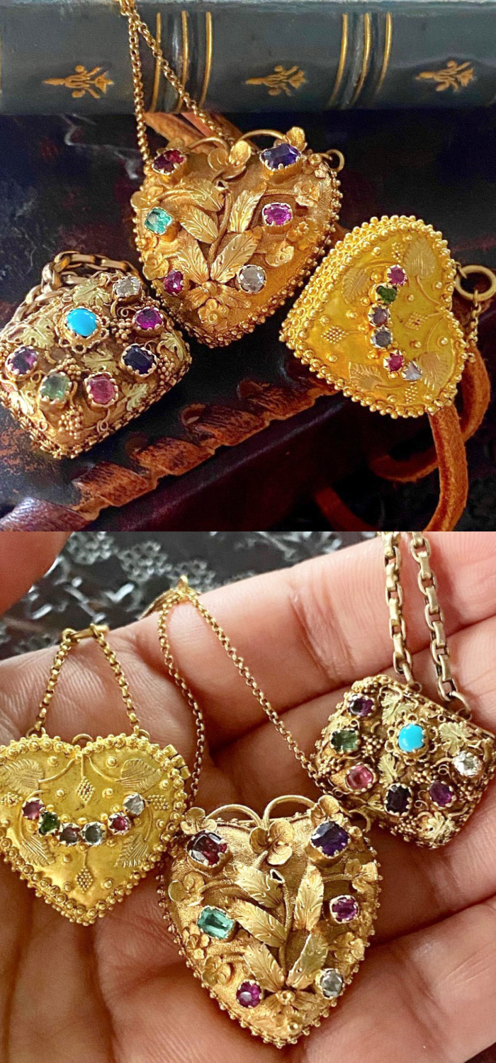 These three antique gold Georgian era lockets are from Fable & Windsor and they are all acrostic jewelry with gems that spell 'REGARD.'
