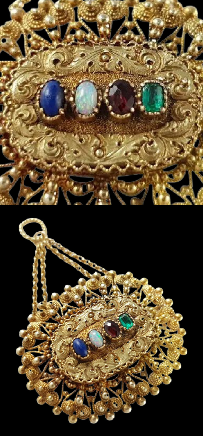 This Georgian era acrostic jewel features gold cannetille work and gemstones that spell 'LOVE.' From Argentum Antiques & Collectables on 1st Dibs.