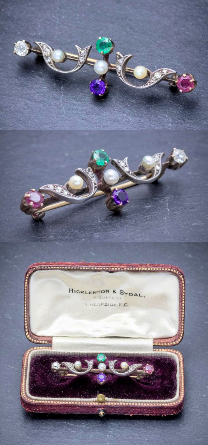 This early Victorian era brooch is an acrostic jewel! The colorful gems spell DEAR and it is in its original box. From Laurelle Antique Jewellery.