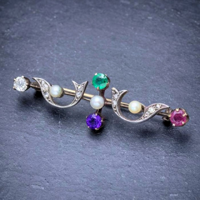 This early Victorian era brooch is an acrostic jewel. The gems spell DEAR. From Laurelle Antique Jewellery.
