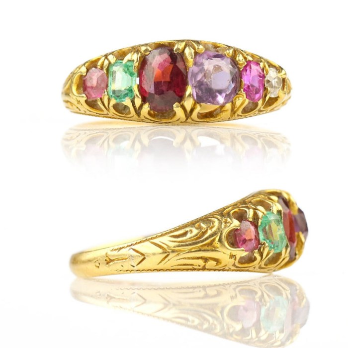 This late Victorian acrostic ring spells REGARD in gemstones! From Heart of Hearts Jewels.