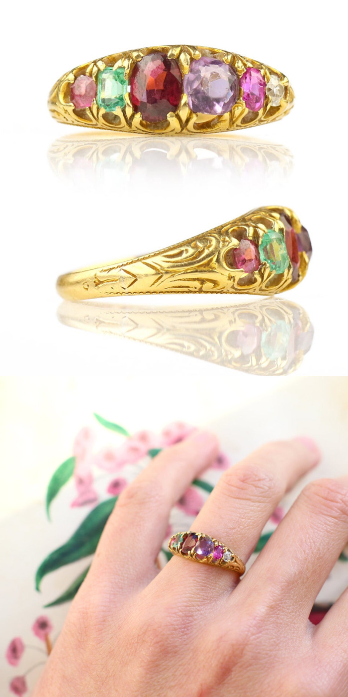 This late Victorian acrostic ring spells REGARD in gemstones. From Heart of Hearts Jewels.