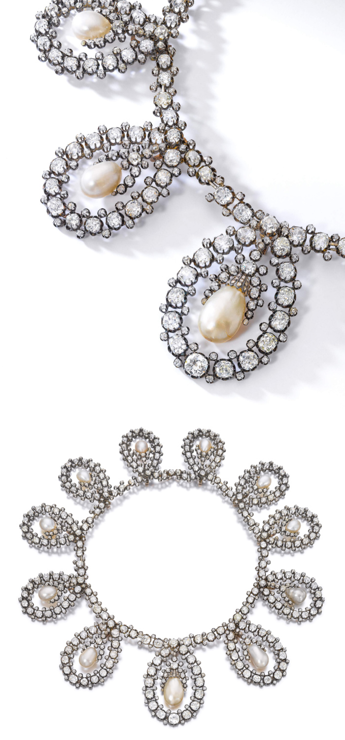 The necklace form of an antique royal tiara by Musy! Old cut diamonds and natural pearls. Via Sotheby's.