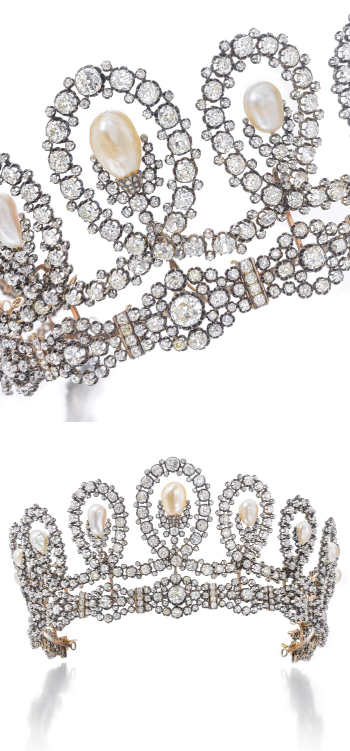 This magnificent royal tiara dates to the later half of the 19th century and can convert into a necklace. Diamonds and natural pearls! Via Sotheby's.