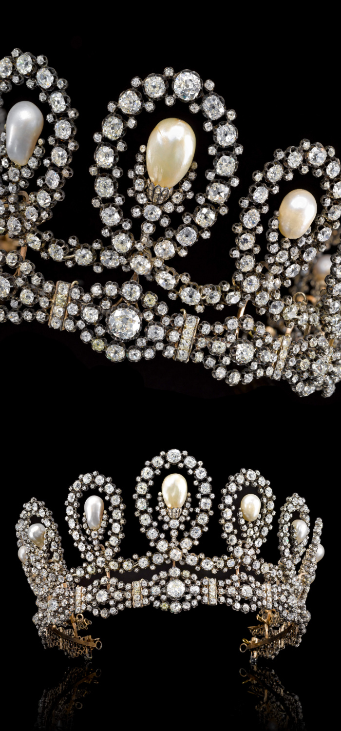 This magnificent royal tiara dates to the later half of the 19th century and can transform into a necklace. Diamonds and natural pearls! Via Sotheby's.