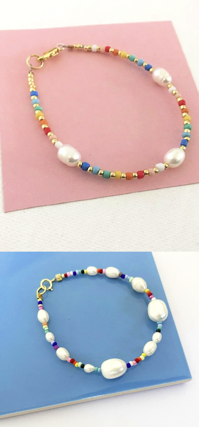Cheerful rainbow bead pearl bracelets from Pearls by Mimmi
