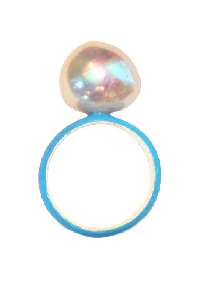 Fry Powers pearl ring with neon blue enamel and baroque pearl. So fun!