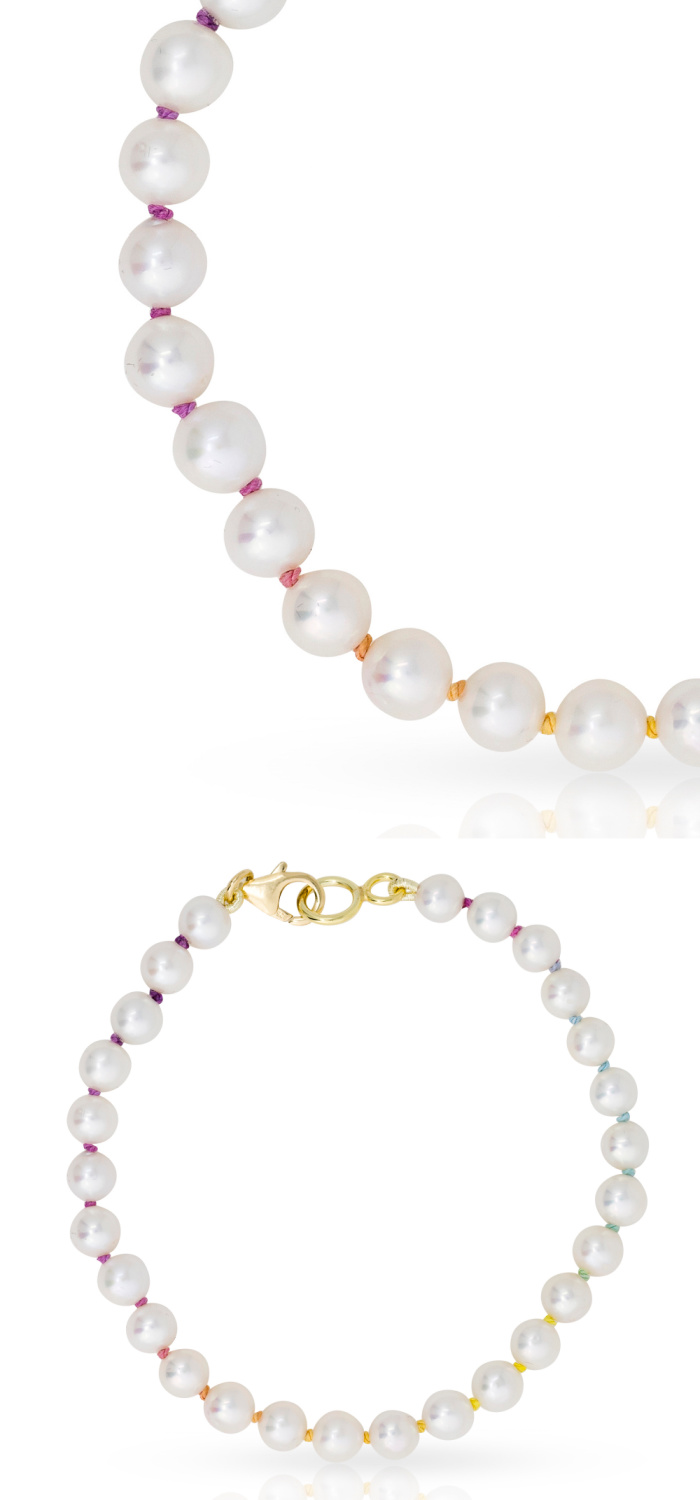 Mined + Found uses hand knotted rainbow silk to create these beautiful rainbow pearl necklaces.