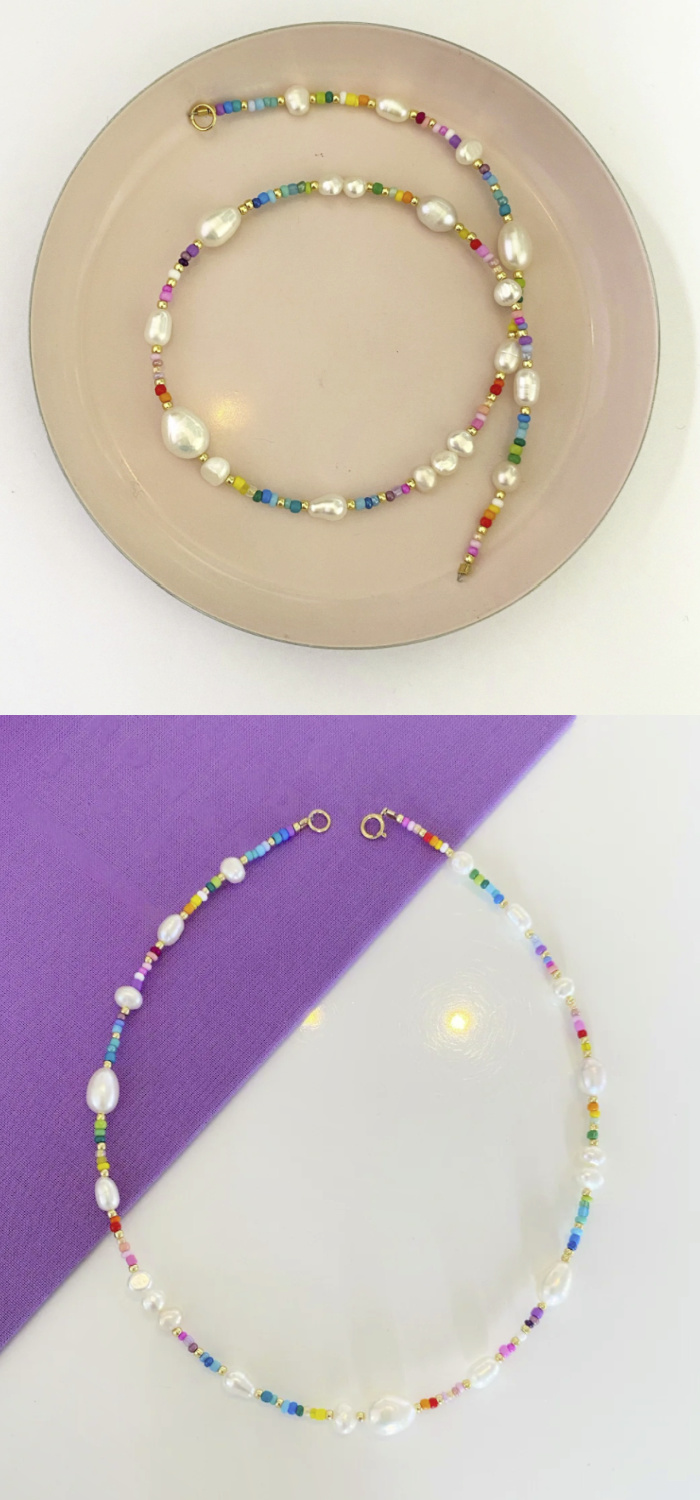 Rainbow pearls!! This rainbow bead and pearl necklace is from Pearls by Mimmi.