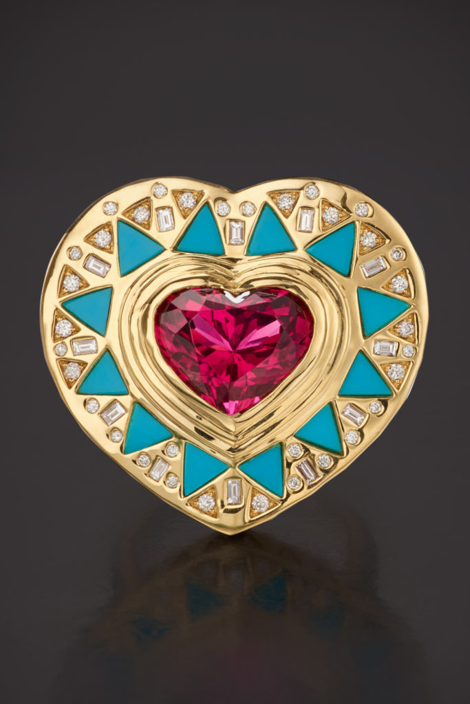 Cleopatra's Heart ring by Harwell Godfrey. With rubellite, turquoise, and diamonds. From Sotheby's Brilliant & Black exhibition of work by Black Jewelers.
