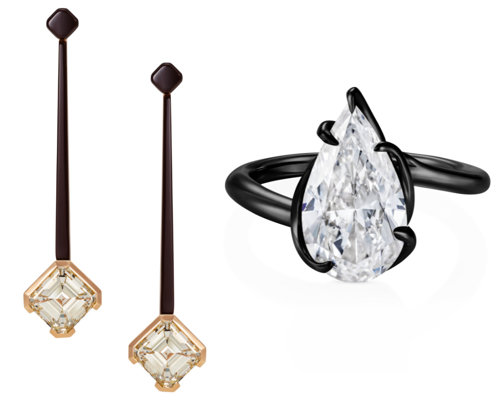 Diamond jewels by Thelma West for Sotheby's Brilliant & Black, an exhibition of work by Black jewelers.
