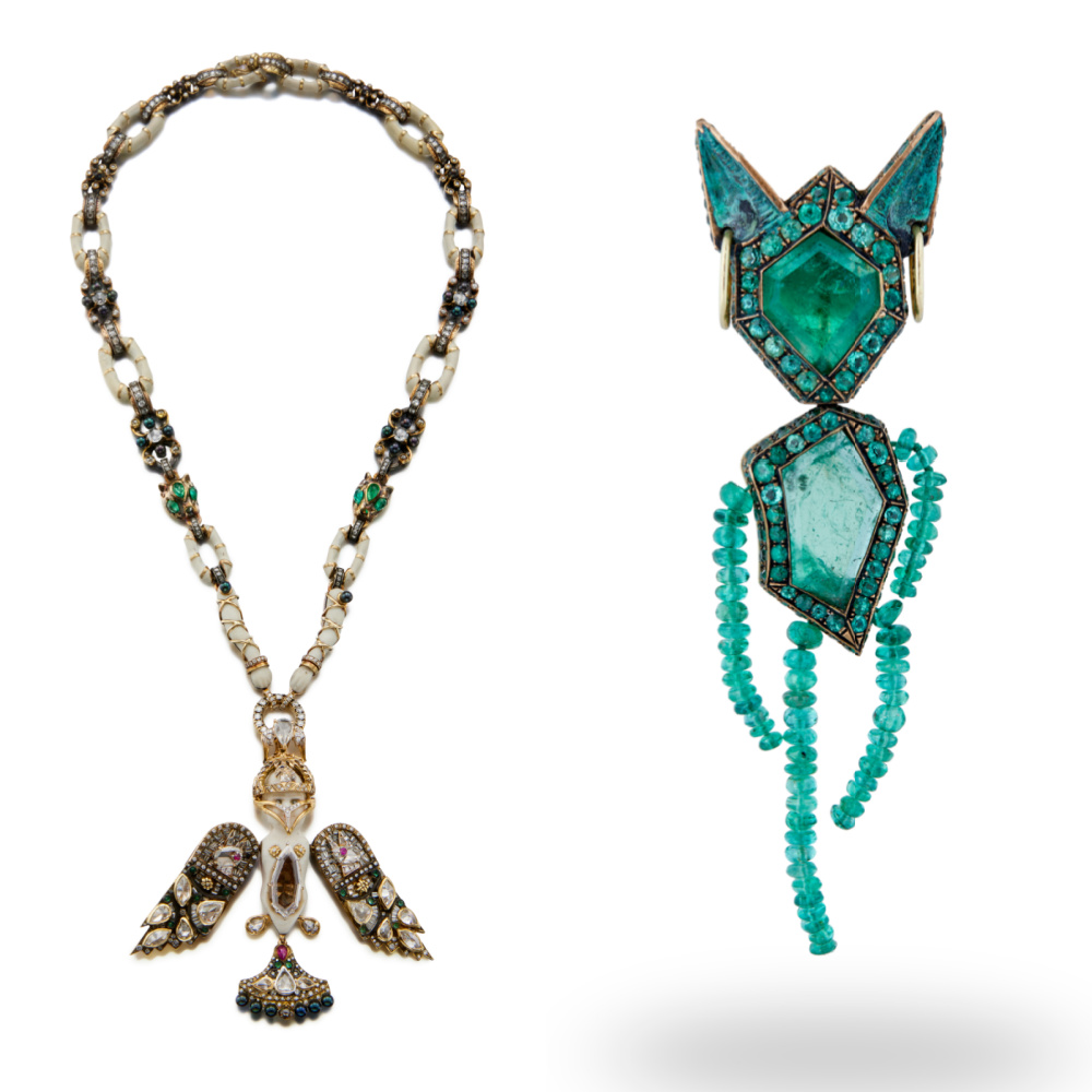 Necklace and emerald brooch by Castro, from Sotheby's Brilliant & Black, an exhibition of work by Black jewelers