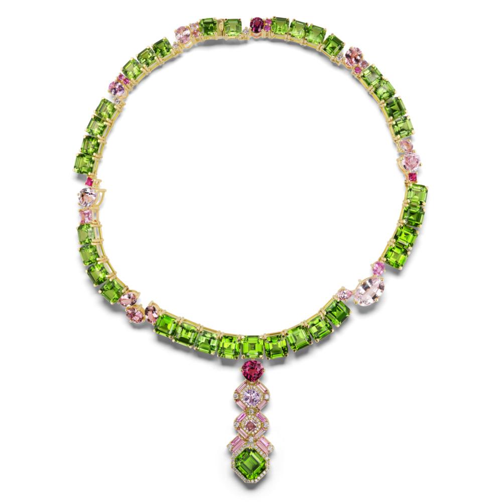 The Heroine's Necklace by Sheryl Jones, with asscher cut peridot, pink sapphires, rubies, tourmalines, kunzites, and diamonds.