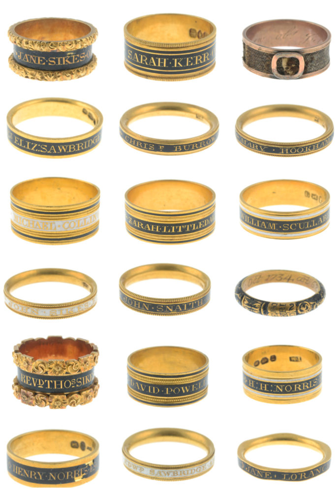 This incredible mourning ring collection spans 100 years and includes 63 gold and enamel Georgian and William IV mourning rings.