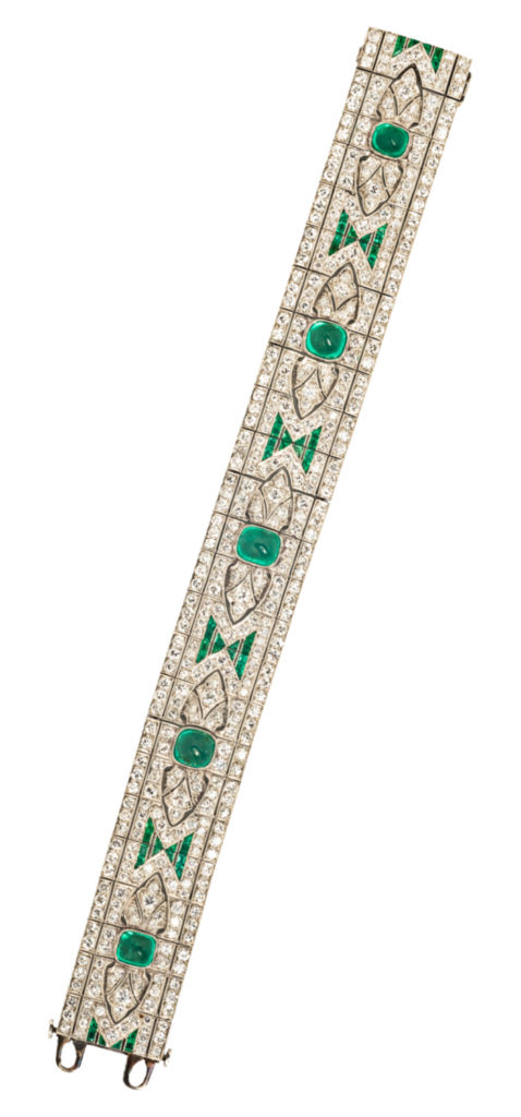 A beautiful vintage Art Deco emerald and diamond bracelet from Tiina Smith