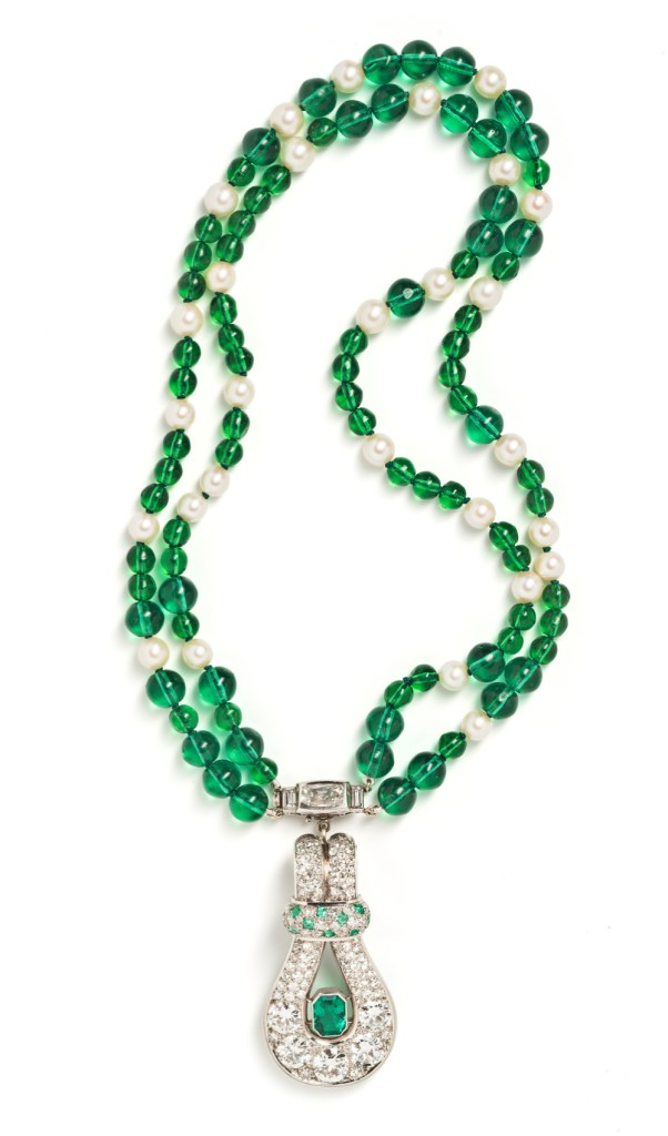 A vintage emerald and diamond necklace by Belperron, from Tiina Smith.