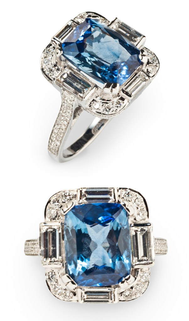 An Art Deco style sapphire and diamond ring from Tiina Smith. Would be a beautiful sapphire engagement ring!