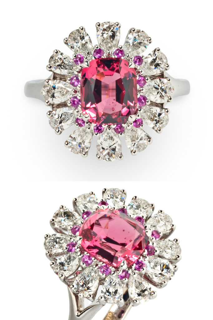 Pink spinel, pink sapphire, and diamond cocktail ring from Tiina Smith.