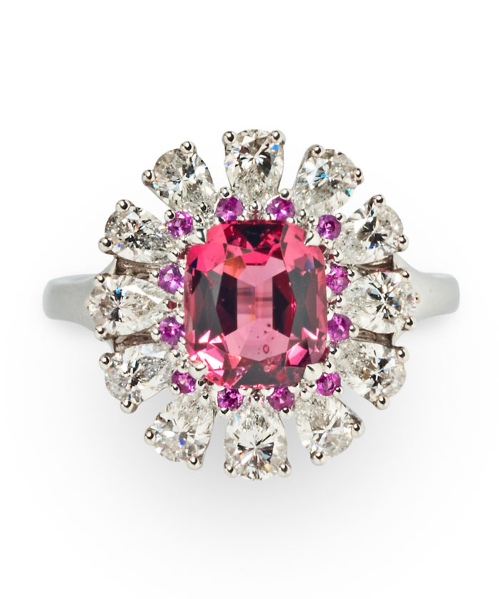 Pink spinel, pink sapphire, and diamond cocktail ring from Tiina Smith. Beautiful!!