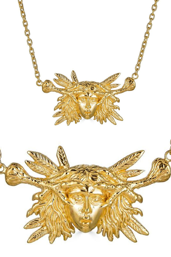 The Harpy necklace in gold from KIL NYC's Teras Collecton, which is inspired by monsters from Greek mythology.