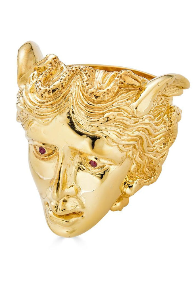 The KIL NYC Medusa ring in gold with ruby eyes. Rrom KIL NYC's Teras Collecton, which is inspired by monsters from Greek mythology.