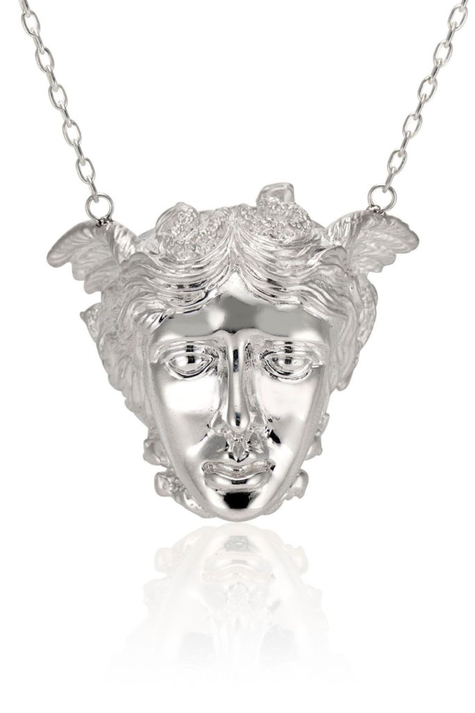 The Medusa necklace in silver from KIL NYC's Teras Collecton, which is inspired by monsters from Greek mythology.