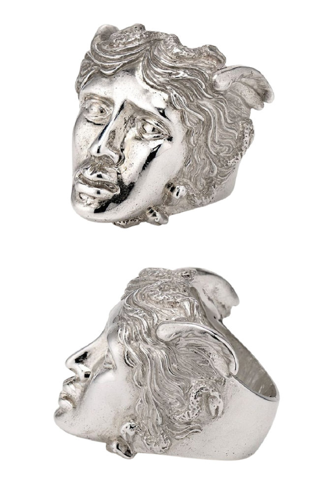 The Medusa ring in silver from KIL NYC's Teras Collecton, which is inspired by monsters from Greek mythology.