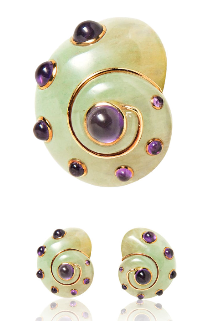 Verdura carved adventurine and amethyst shell earrings from Tiina Smith.