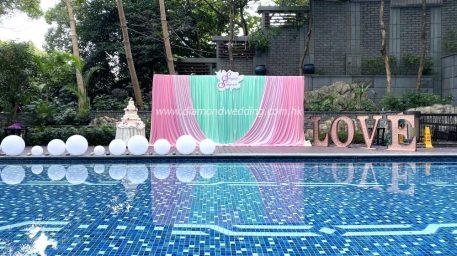 pool side wedding decoration -tiffany blue and pink.