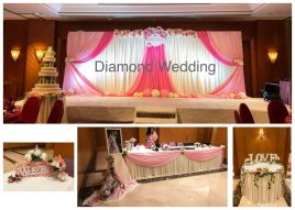 Wedding decoration - pink fabric and silk flowers