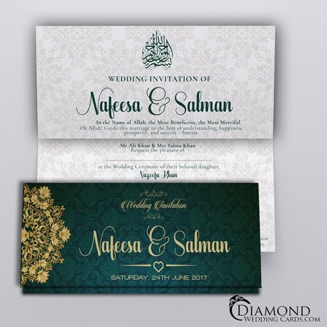 Green Teal Royal Muslim Wedding Card