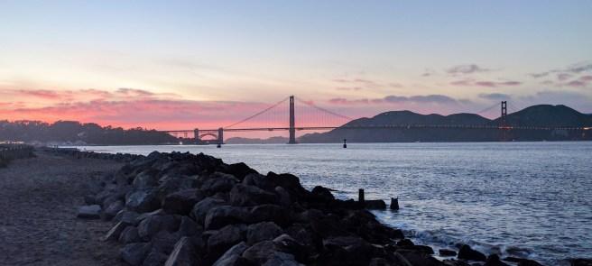 Sunset over Golden Gate Bridge.