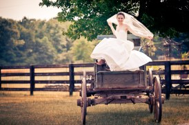 Bride in Wood Cart in Simpsonville SC