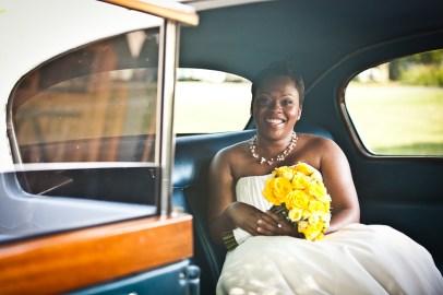 Bride waiting in car in charleston