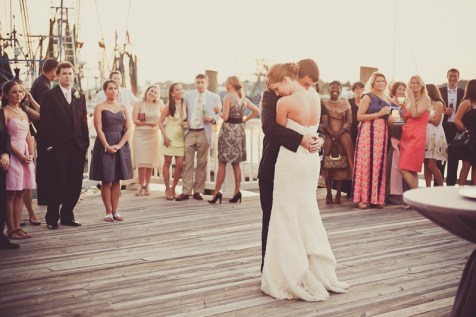 bride and groom first dance on shem creek