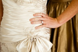 bride dress and ring detail