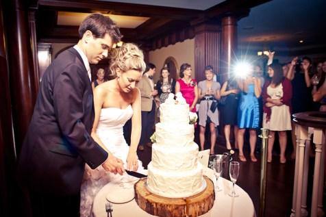 cake cutting at wedding reception
