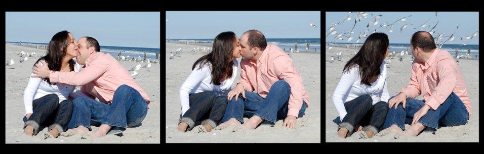 Man and woman kissing on the beach surrounded by seagulls