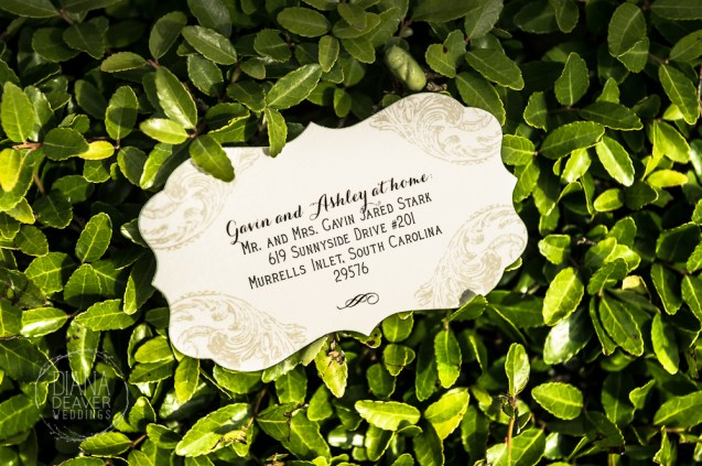 card with wedding couple's address and directions to the reception